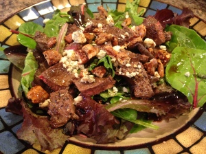 Venison steak salad with candied pecans